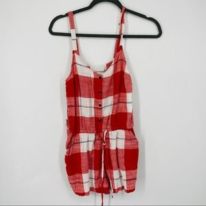 Old Navy Plaid red Check Board Short Romper xs